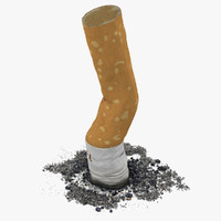 3d model of snuffed cigarette camel