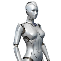 female cyborg 3d obj