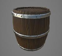 Stylized Wooden Barrel Gameready