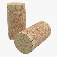 3d wine cork 3 model