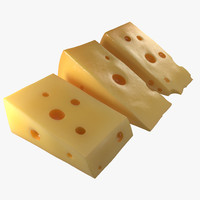 cheese wedge set 3d model