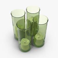 green candlestick holder 3d model