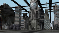 3d city building road human model