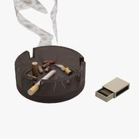3d model smoke cigarette cigar