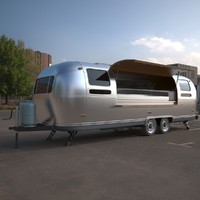 3d model airstream mobile kitchen trailer