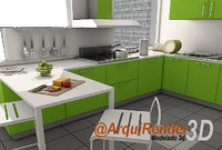 3d model green kitchen