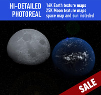 planet earth moon 3d model