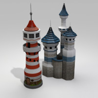 castle house lighthouse 3d 3ds