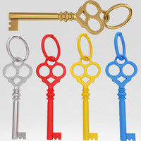 3d model of ancient old luxury key