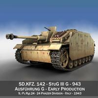 3d model stug 3 - g