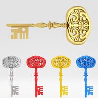 ancient old luxury key 3d fbx