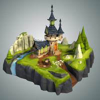 stylized castle environment 3d model