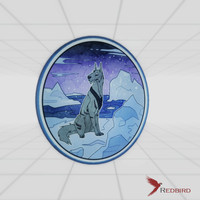 stained glass arctic dog 3d obj