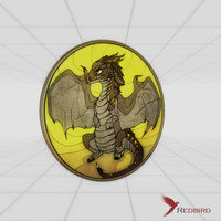 stained glass black dragon 3d obj