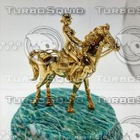 3d model statuette horse jockey