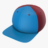 3d model blue maroon baseball cap