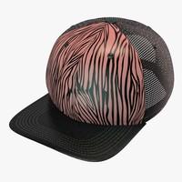 zebra baseball cap 3d model