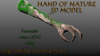 3d modeled tree hand nature model