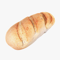 3d model white loaf bread