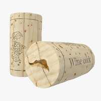 used wine cork 2 3d model