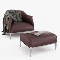 archibald armchair poltrona frau 3d model