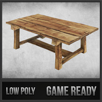 rustic wood table 01 3d model