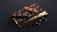 3d model realistic chocolate bars