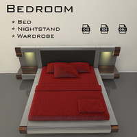 3d bedroom bed model
