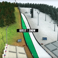 Ski jumping hill high detail