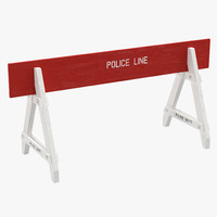 police road wooden barrier 3d 3ds