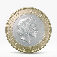 3d model pounds coin