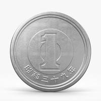 yen coin 3d c4d