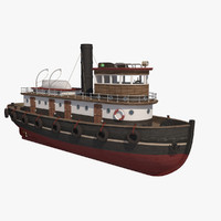 3d model wooden rat tugboat