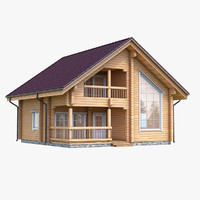 3d max east log house