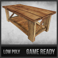 rustic wood table 02 3ds