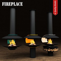 3d realistic fireplace heating