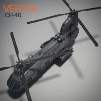 vertol ch-46 sea knight 3d ma