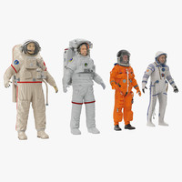 3d model of rigged astronauts