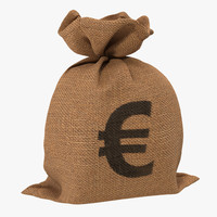 3d money bag 2 euro