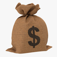 3d money bag 2 dollar model