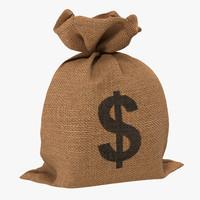 3d money bag 2 dollar