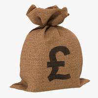 3dsmax money bag 2 pound