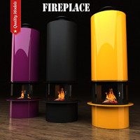 3d model realistic fireplace heating