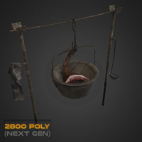 3d model fireplace cooking pot