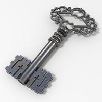 3d model vintage key
