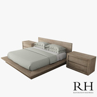 3d reclaimed oak platform bed model