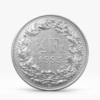 3d max half swiss frank coin