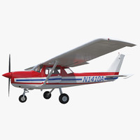 3d model cessna 150 rigged 2