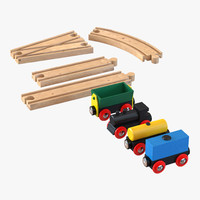 wooden toy train track 3d c4d