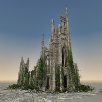 3d model medieval ruined church